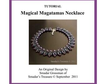 Beading Tutorial, Magical Magatamas Necklace. Beading Pattern with Miyuki Long Magatama and Crystal Beads. Beadweaving Instructions PDF File