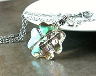 Swarovski Necklace  Oxidized Silver  Shamrock  Necklace   Crystal Pendant   Swarovski Jewelry  Green Clover  Luck Pendant Crystal Jewellery