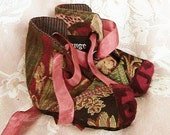 Boho hippy tapestry baby booties with burgundy burnout velvet toes
