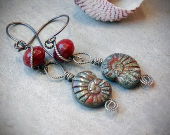 Nautilus Earrings, Rustic Wire wrapped, green and dark red dangle earrings