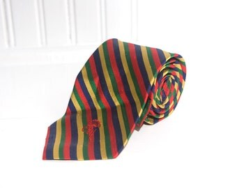 Men's Vintage Silk Necktie / Countess Wara Bright Striped Tie