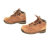 size 7.5 GRUNGE tan leather 80s 90s STEEL TOE hiking lace up ankle work boots