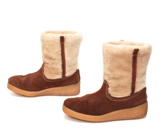 size 7 PLATFORM tan leather 70s 80s WEDGE SHEARLING winter fleece pull on ankle boots