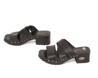size 5.5 PLATFORM black leather 70s 80s CANDIES WOOD heel clogs
