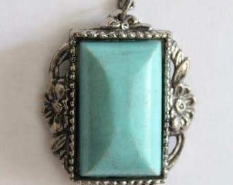 Vintage plastic turquoise silver pendant