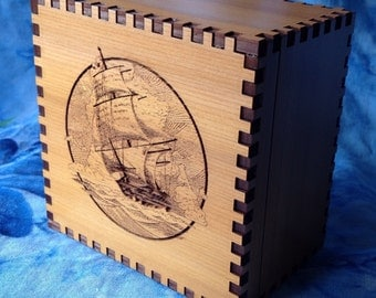 Sailing Ship 4 x 4 Inch Red Cedar  Box