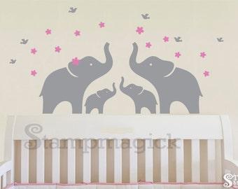Elephants Wall Decal - Baby Elephant Vinyl Wall Decal for nursery - Wall Decor Graphics Sticker - K172