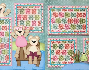 12x12 TWO One Page Premade Scrapbook Pages Swimming Jumping In TYCAALAK