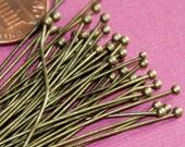 24 gauge Antique Brass Ball end head pin with 2mm ball  - 2 inch long  50pcs