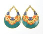 Pair of Ornate Teal Turquoise Orange Blue Gold Large Hoop Earring Findings Long Teardrop Enamel Jewelry  B1-6 2