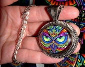 SALE Psychedelic Rainbow Owl Trippy Hippie Owleister Silver Glass Cameo Necklace