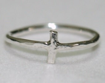 Silver Cross Ring, Pinky Cross Ring, Silver Midi Cross Ring, Size 2.75, Rustic Faith Jewelry, Sideways Cross Ring Maggie McMane Designs