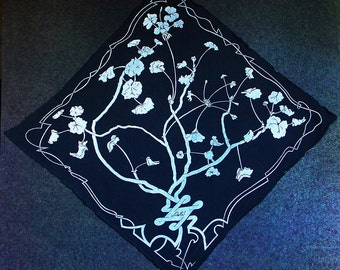 Hand-screened Geranium print scarf.