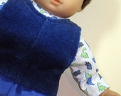 Bitty or Bitty Twin Boy Doll Clothes - Blue Pants, Blue Fleece Vest, Dinosaurs Turtleneck - 3 piece outfit.