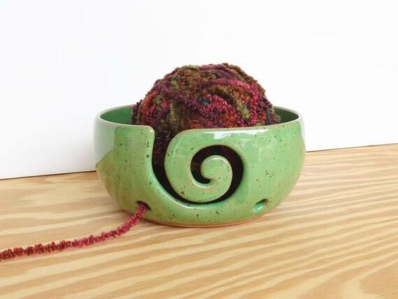 Yarn Bowl Ceramic Stoneware Clay in Bright Spring Green Glaze - Spiral Design with 2 holes