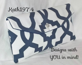 Navy Blue Clutch - Bridesmaid Clutch -  Envelope Clutch - Premier Prints- Sheffield Navy Blue /Bridesmaid Gift Idea / Birthday Gift