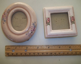 Vintage Ceramic Picture Frames Set of 2 Shabby Chic