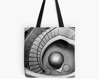 Abstract Architecture - Escher-ish (MC Escher photo tote bag, surreal black and white photography art modern urban city San Francisco)