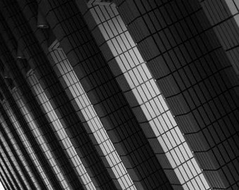 Abstract Architecture - Tri-infinity (black and white abstract architecture photography print, geometric triangle repetition infinity urban)