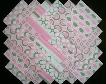 PINK & GRAY 100% cotton Prewashed 5 inch Quilt Fabric Squares (#D/84B)