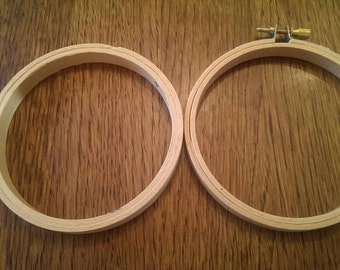Set of 5 Four Inch Wooden Embroidery Hoops