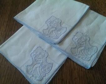 Set of  3 Vintage Delicate Tea Napkins with Unusual Motif