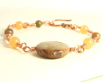 Copper Wire Wrapped Gemstone Bracelet. Brown, Orange, Green and Salmon Pink Gemstones. Rhyolite, Aventurine and Unakite. May help with pain.