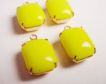 Vintage Yellow Octagan Opaque Stones 12x10 in Brass Prong Settings 1 Ring Closed Backs - 4 Pieces