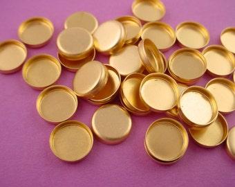 36 brass  Round Bezel Cups 8mm High Wall