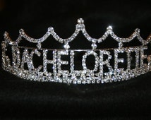Bachelorette Tiara, Bachelorette Crown, Bachelorette Rhinestone Tiara, Bachelorette Party, All Metal Silver Plated With Quality Rhinestones