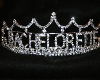 Bachelorette Tiara, Bachelorette Crown, Bachelorette Rhinestone Tiara, Bachelorette Party, All Metal Silver Plated With Quality Rhinestones