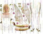 Paper DoLL CHRISTMAS ANGEL Altered art Easter Digital Doll Ballerina Digital Angel Paper doll Download Papercrafts  Scrapbooking Cardmaking