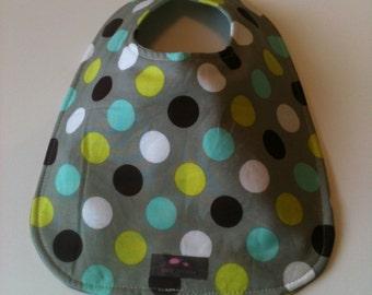 Baby Bib-  Dots- Gray-Brown-Green  10 x 12.5