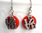 Love Earring Dangles, Red Button Love Dangles, Red Antique Silver Earrings, Rustic Love Drops, Lightweight Earrings, Gifts For Her (3437)