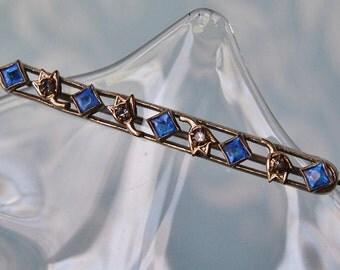 Art Deco Cobalt Rhinestone Brooch 1930s Bar Pin