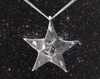 Large Silver Star Meteorite Necklace