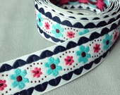 """Sweet pink aqua and navy ribbon with embroidered flowers and scalloped edging / fashion trim /sold by the yard/ 1"""" or 2.8cm width x  2 yards"""