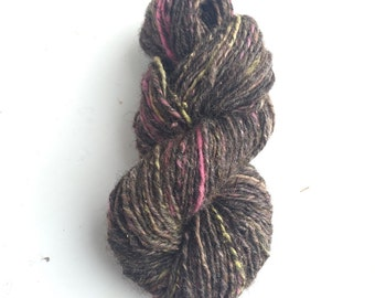 Sukoshi: Thessalonica // eco-ethical mixed natural fiber handspun, hand dyed fine gauge art yarn in brown, pink & yellow