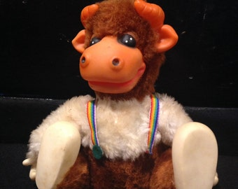 Vintage Stuffed Cow with Suspenders - Moos When You Turn It Over