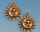 Sun Moon Charm, Man In The Moon, Antique Gold, 2 Pieces,  AG266