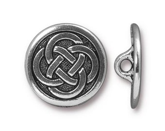 Celtic Knot Button, Antique Silver, TierraCast Celtic Collection, 2 Pieces, TS92