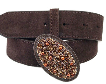 Beaded Belt Buckle Rustic Oval Chocolate Delight