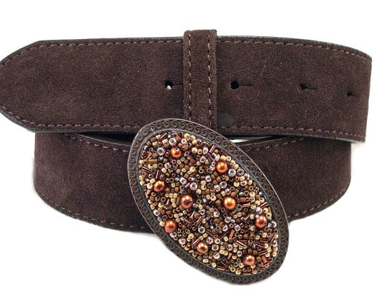 Beaded Belt Buckle Rustic Oval Chocolate Delight