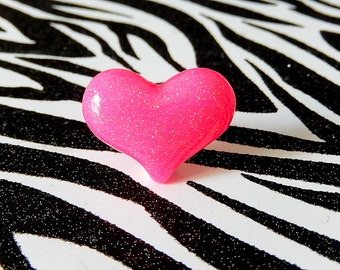 Pink Heart Ring, Resin, Neon Hot Pink, Puffed Heart, Glitter Kawaii Jewelry