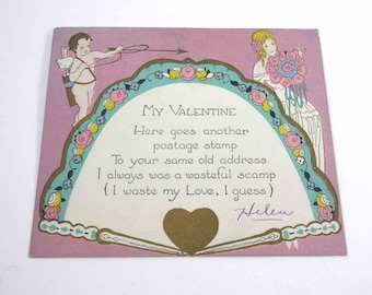 Vintage Fancy Purple Lavender Antique Valentine Greeting Card with Cupid and Blonde Girl Bouquet with Fan Gold Accents