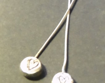 Sterling Silver Artisan Headpins Distressed Heart