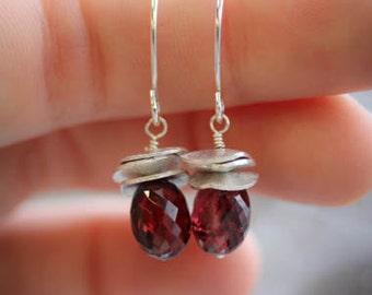 Sterling Silver and Garnet Earrings, Garnet Drop Earrings, Dangle Earrings, Ready to Ship