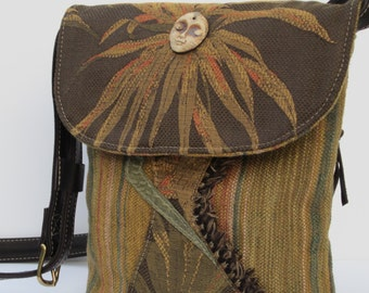 CROSS BODY Shoulder Bag Fabric with Leather Dracena