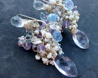 Pink amethyst, blue topaz earrings with seed pearls - sterling silver - beaded cluster earrings - mermaid bride - garden party - baroque