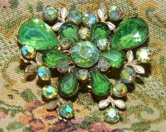 Vintage Green Rhinestone Butterfly Brooch, Pendant, Saint Patricks Day, Green Rhinestone Pin
